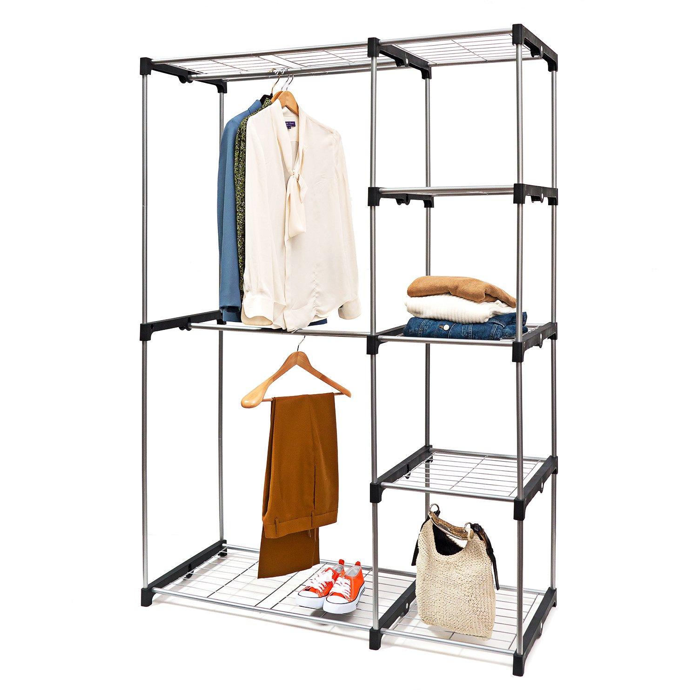 Basics Hardware Deluxe Double Rod Closet Organizer Freestanding Wardrobe Rack - Silver (Wardrobe Organizer)