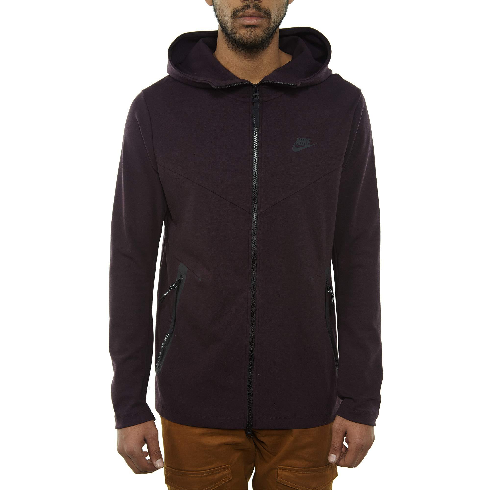 Nike Mens Tech Fleece Pack Full Zip Training Hoodie Burgundy Ash/Black AA3784-659 Size Small by Nike (Image #1)