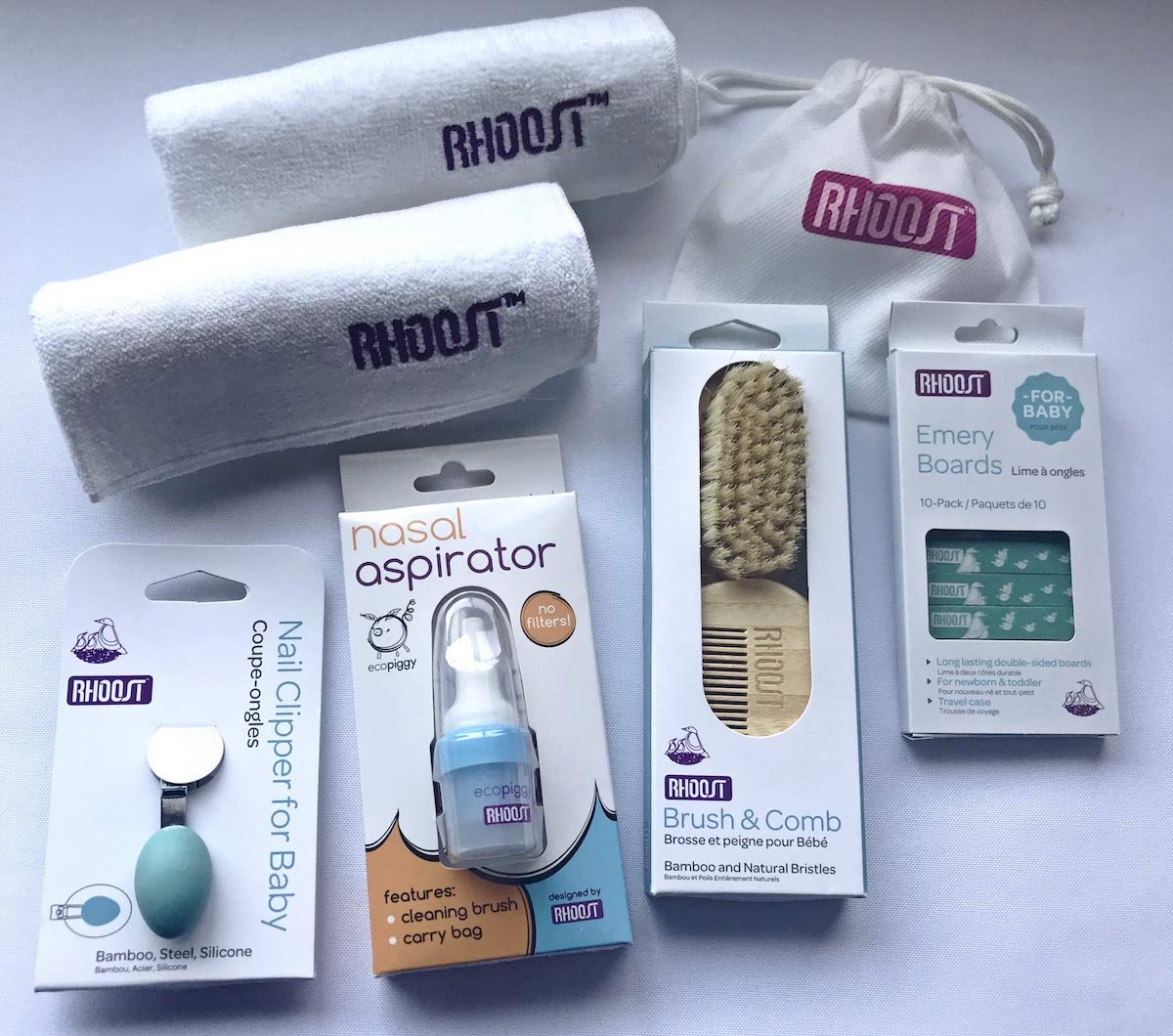 Rhoost Baby Grooming and Health Gift Set (19 pieces), Brush, Comb, Nail Clipper, Emery Boards, Cleaning Brush, Carry Bag, Nasal Aspirator, and Washcloths by Rhoost