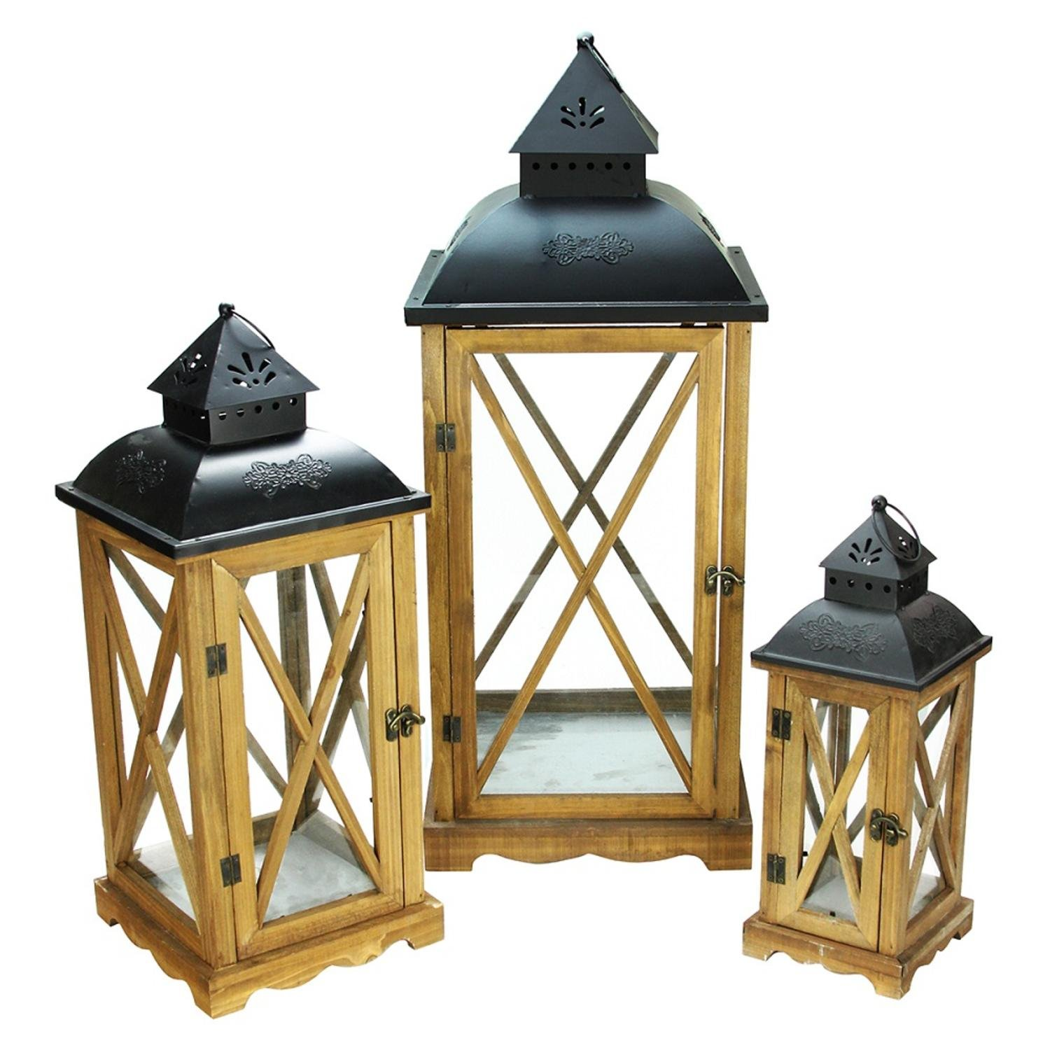 Christmas Tablescape Décor - Country elegance wooden garden style glass & black metal pillar candle lanterns - Set of 3 by Northlight