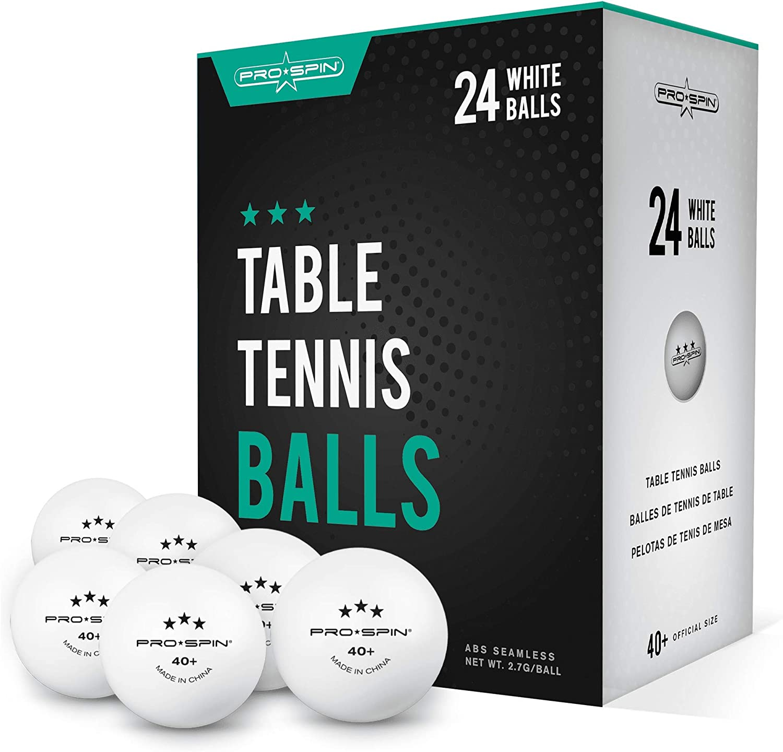 Pelotas de ping pong, color blanco de 3 estrellas 40+ pelotas de tenis de mesa (paquete de 12 o 24) | Bolas de entrenamiento ABS de alto rendimiento | Última durabilidad para mesas de ping pong, compe