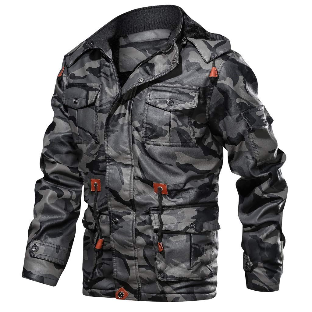 Men's Camouflage PU Faux Leather Motorcycle Bomber Jacket Casual Stand Collar Warm Drawstring Hooded Coats by SSYUNO-men tops