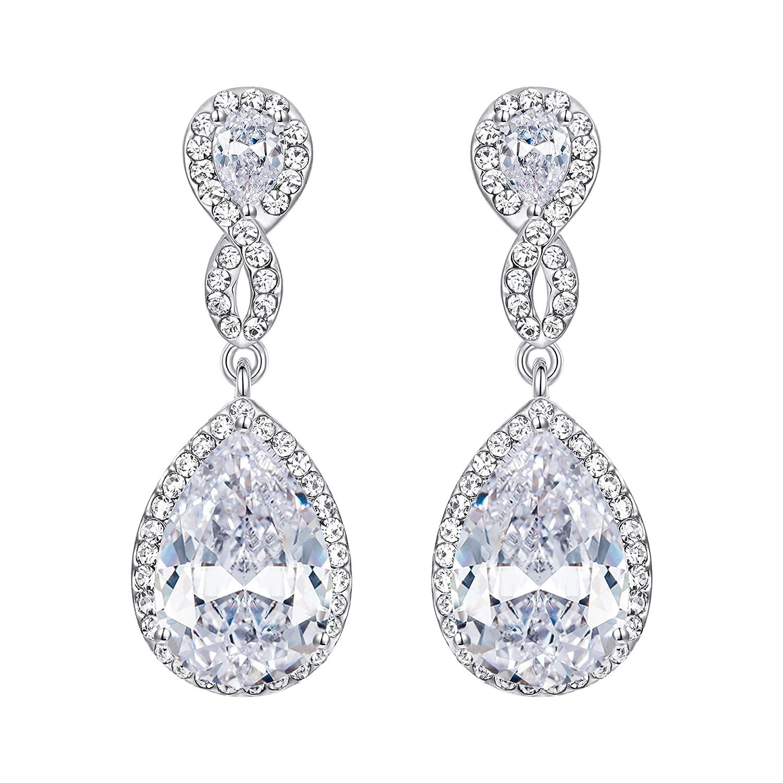 EVER FAITH® Boucle d'Oreilles Forme Goutte Cristal Zircone Transparent Ton d'Argent N02479-1