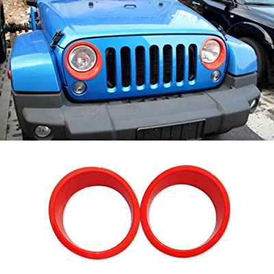 RT-TCZ Headlight Cover Trim Headlight Bezels for Jeep Wrangler JK & Wrangler Unlimited JKU 2007-2020 Unlimited (Red): Automotive