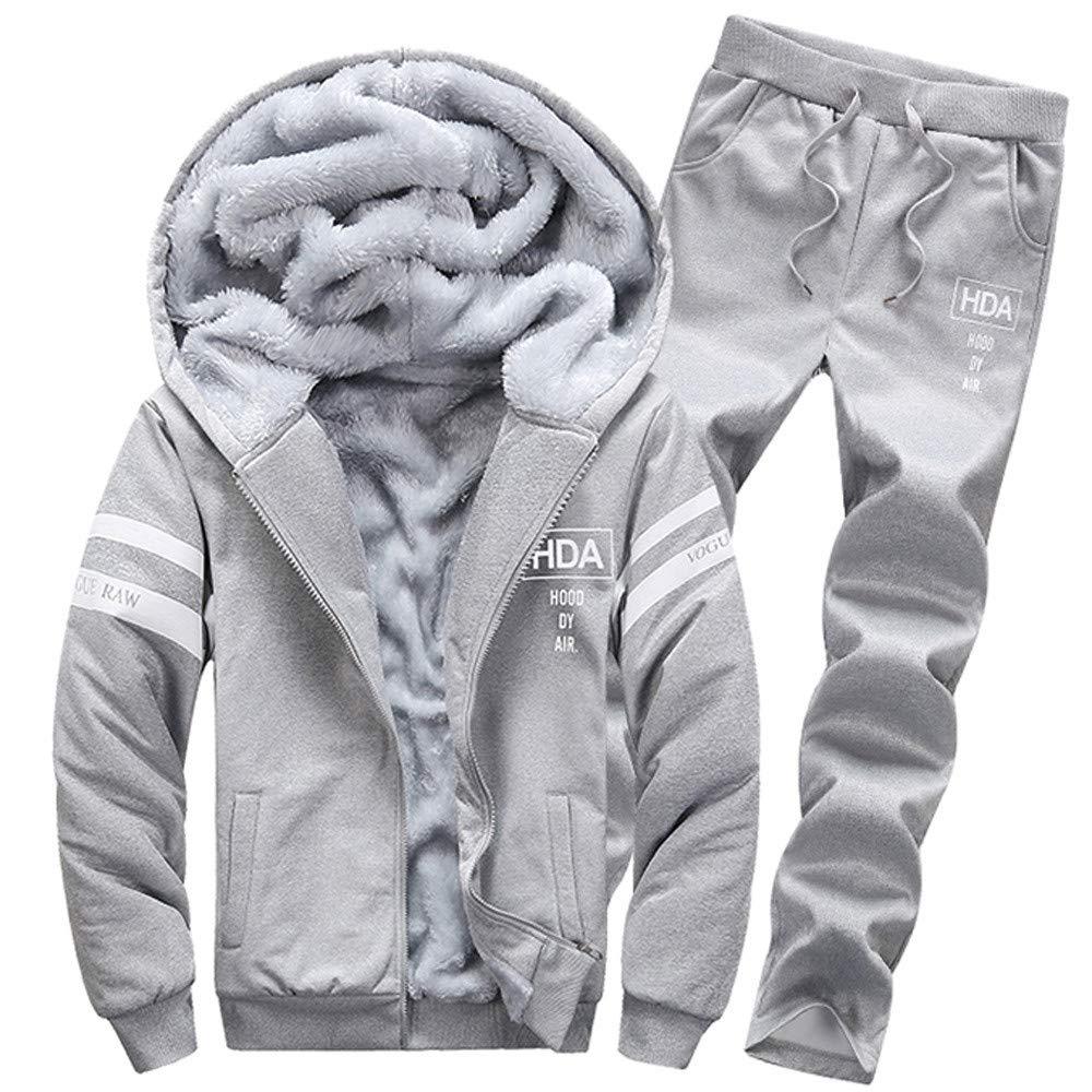 2018 Lastest,WUAI Clearance Mens Athletic Hooded Sweatshirt Set Casual Thick Sports Plus Size Slim Fashion Tracksuit(Grey,US Size 3XL = Tag 4XL)