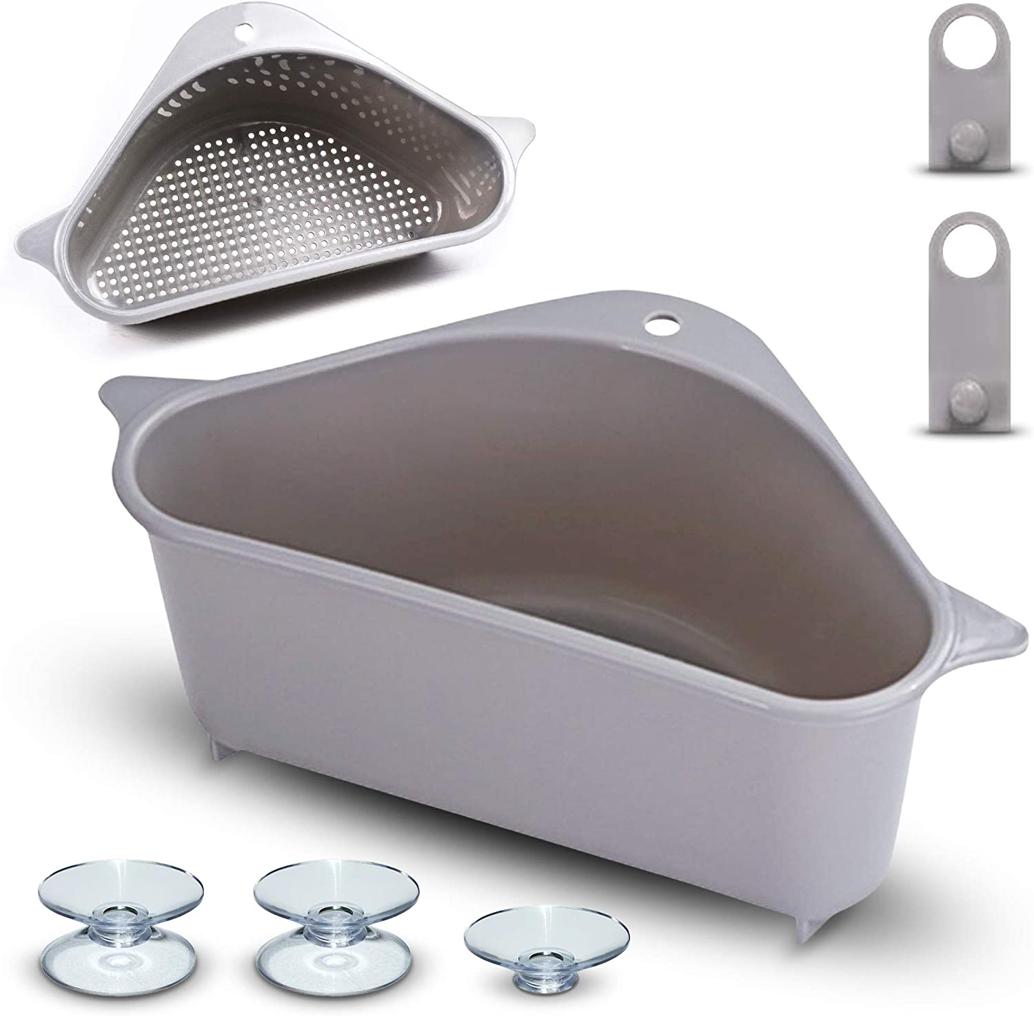 Sink Strainer Basket – Multi Purpose Corner Sink Basket Extra Strength Hanging Storage Rack for Kitchen, No Drill Soap Box Organizer Shelf for Peeling & Straining Compact Extra Suction for Better Hold