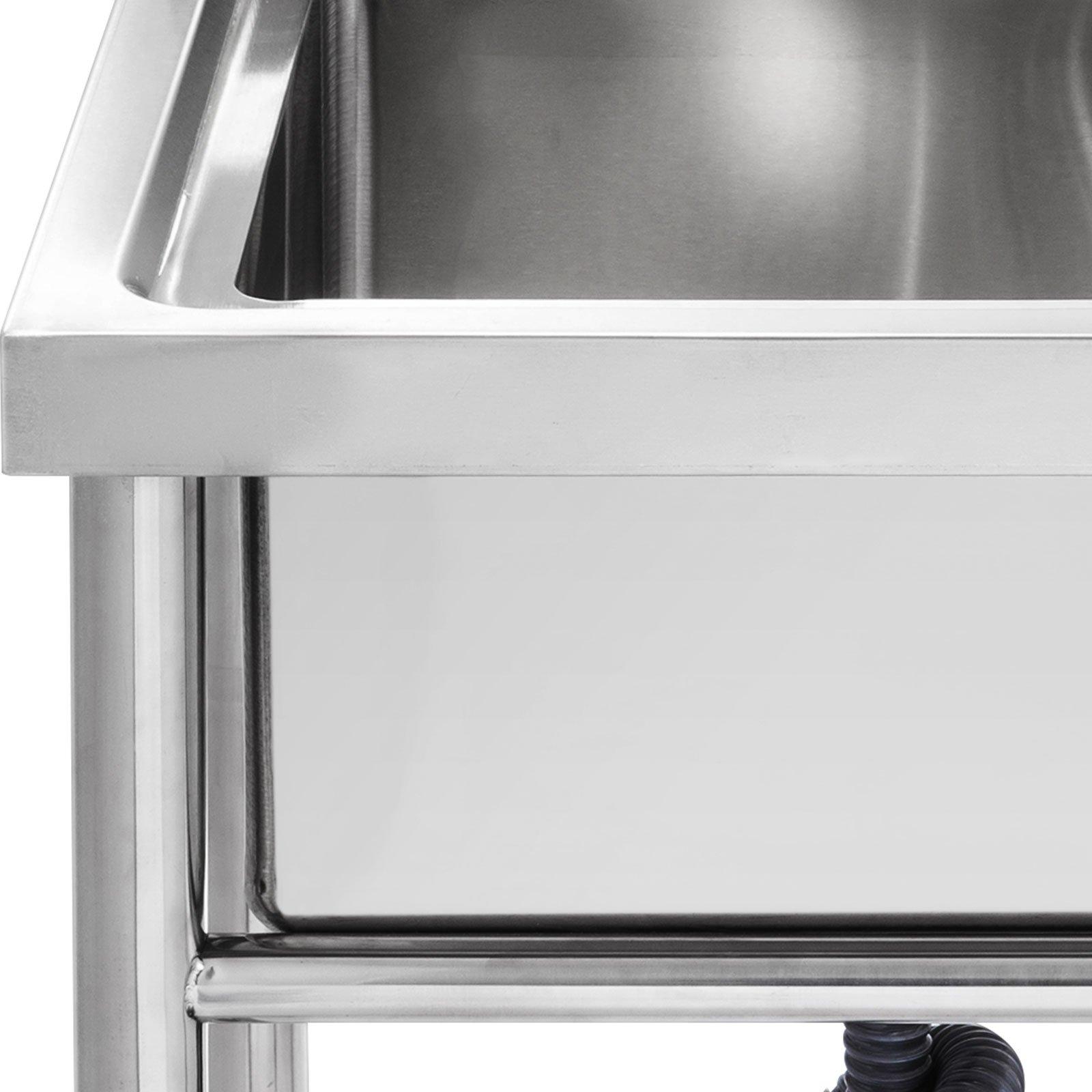 "Mophorn 2 Compartment Stainless Steel Bar Sink 15.5"" x 16.5""Bowl Size Handmade Underbar Sink for bar, kitchen restaurant by Mophorn (Image #5)"