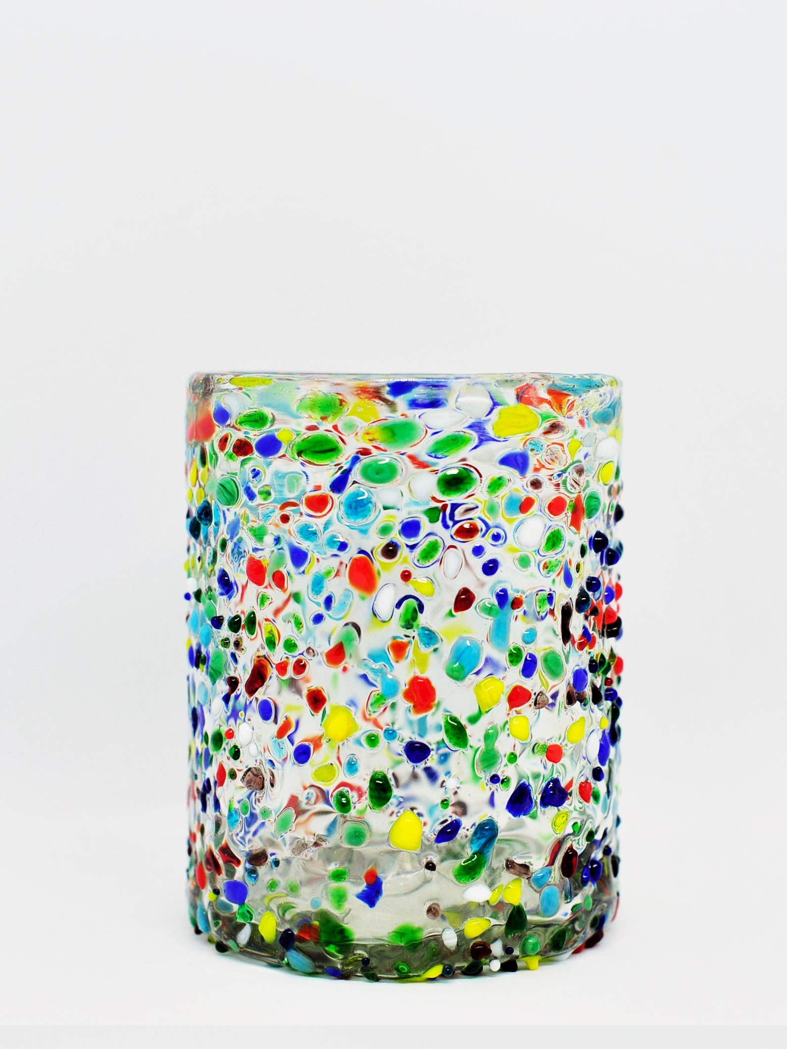 Mexican Blown Glass Tumblers Confetti Rocks (Set of 6) by MEXHANDCRAFT (Image #1)
