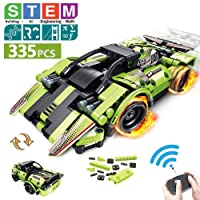 STEM Building Toys for Kids with 2-in-1 Remote Control Racer | Snap Together Engineering...