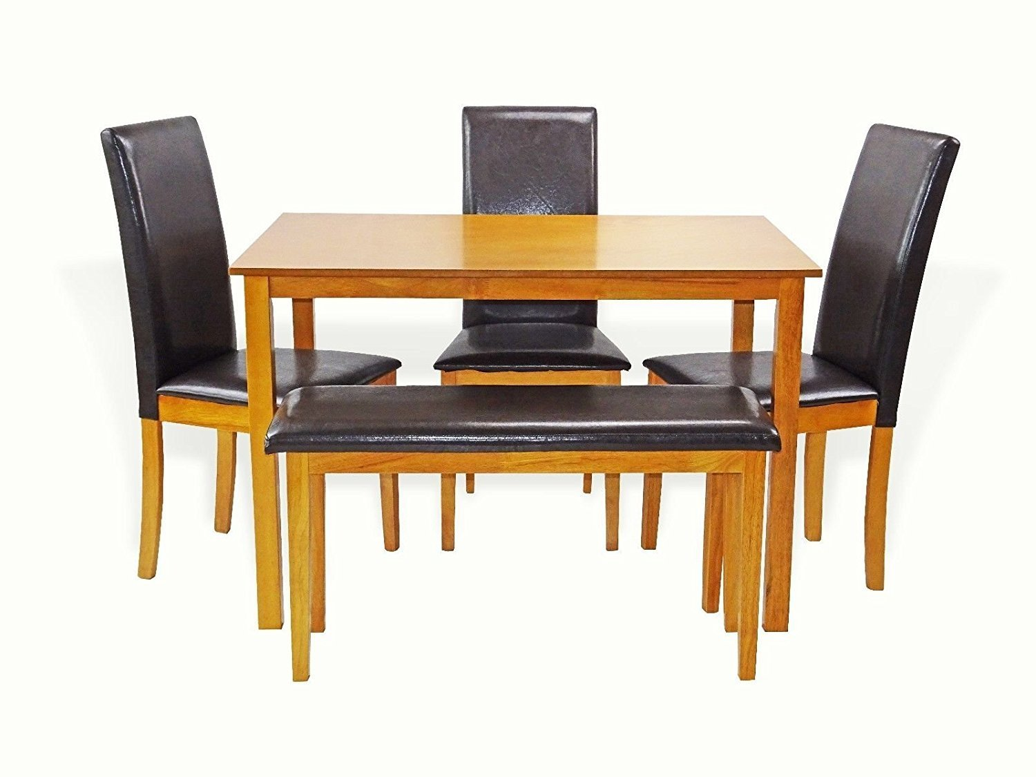 Rattan Wicker Furniture Dining Kitchen Solid Wooden Bench Stained Padded Seat Classic Design in Maple Finish by Rattan Wicker Furniture (Image #7)