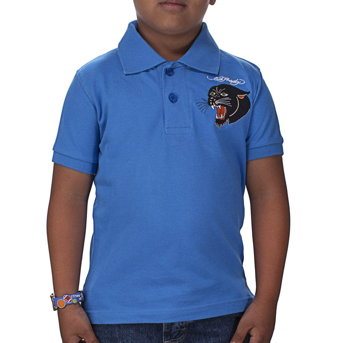 Ed Hardy Toddlers Panther Polo - Cobalt White - 2/3