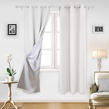 Deconovo Greyish White Thermal Insulated Blackout Curtains Grommet Curtains  With Silver Coating For Bedroom 42 By