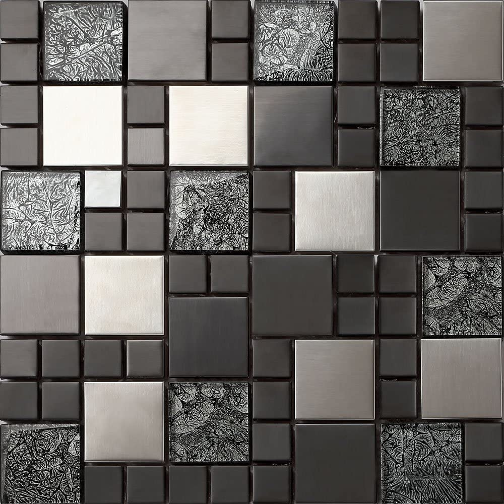Relief 1/m Verre et acier inoxydable mosa/ïque carrelage Tapis Tapis en noir et argent 30/cm x 30/cm x 8/mm MT0002/M/²