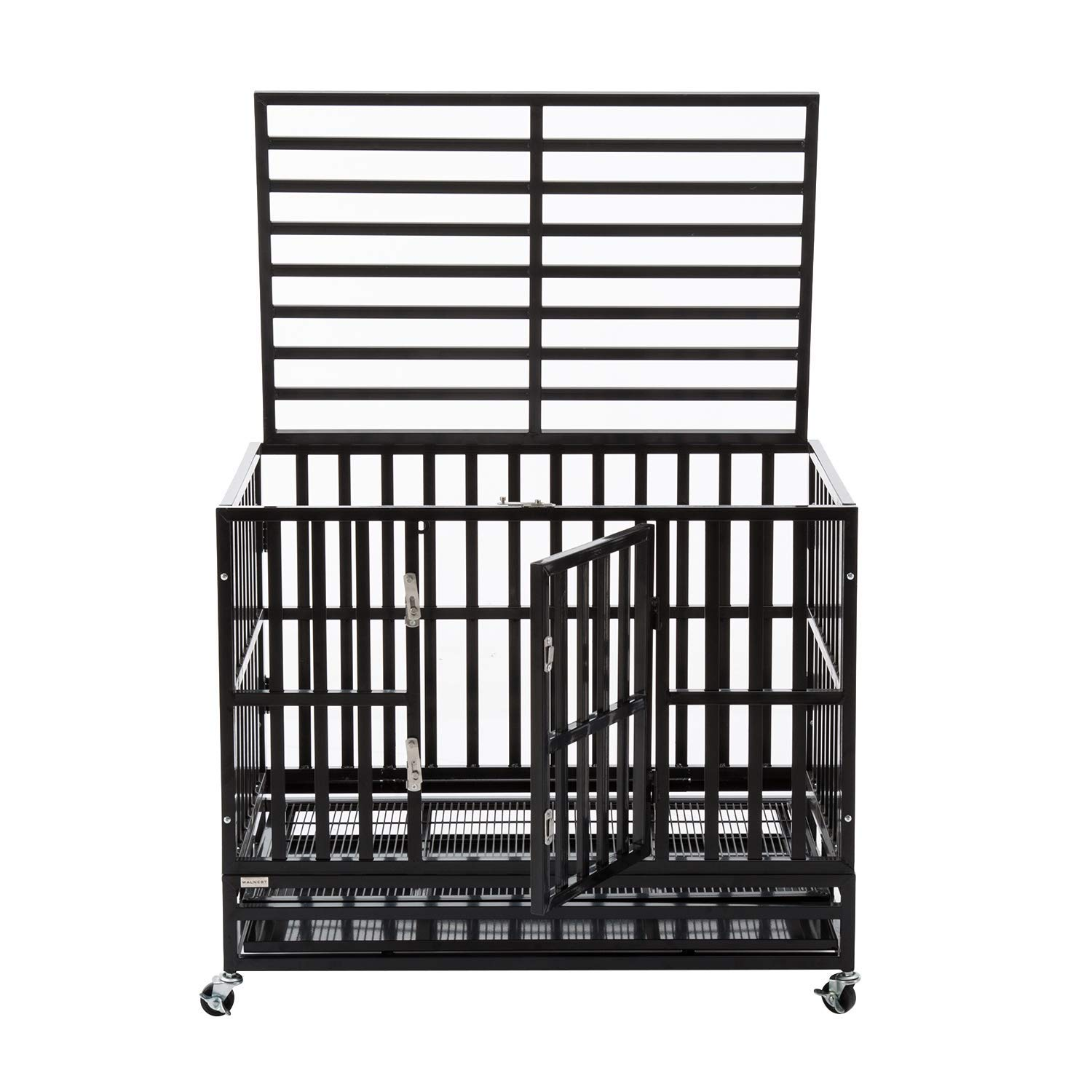 Awesome Sliverylake Heavy Duty Metal Dog Crate Cage Pet Kennel Playpen Exercise W Wheels Tray New Type Square Tube Machost Co Dining Chair Design Ideas Machostcouk