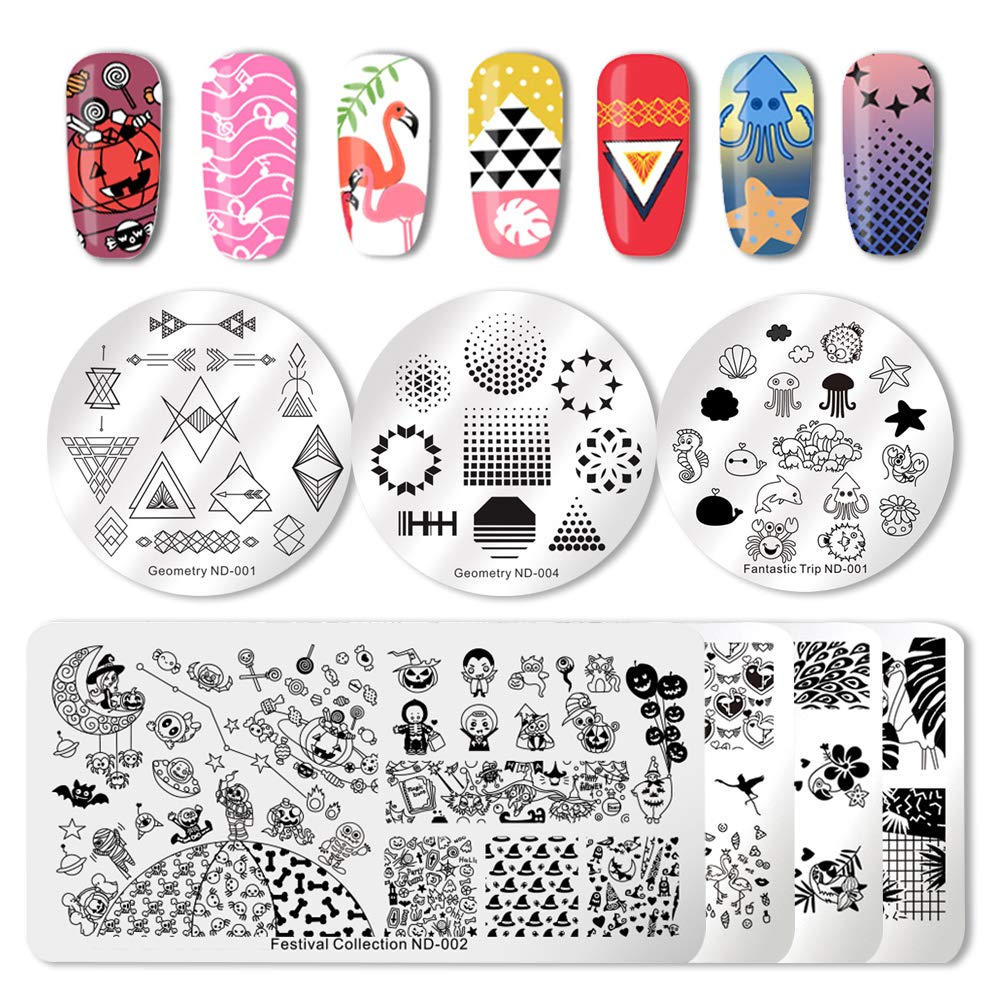 NICOLE DIARY Nail Stamping Plates Tropical Festival Collection Nail Templates Stamp Image Plates with Dual Ended Clear Jelly Stamper Nail Art Stamping Silicone Heads Manicure Nail Art Tool Kit