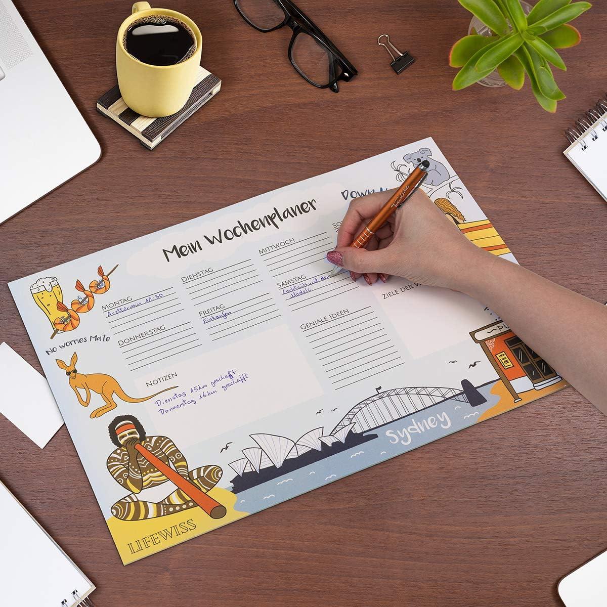 Lifewiss Schreibtischunterlage aus Papier zum Abrei/ßen in 5 St/ädte Designs DIN A3 Wochenplaner Notizblock To-Do Liste