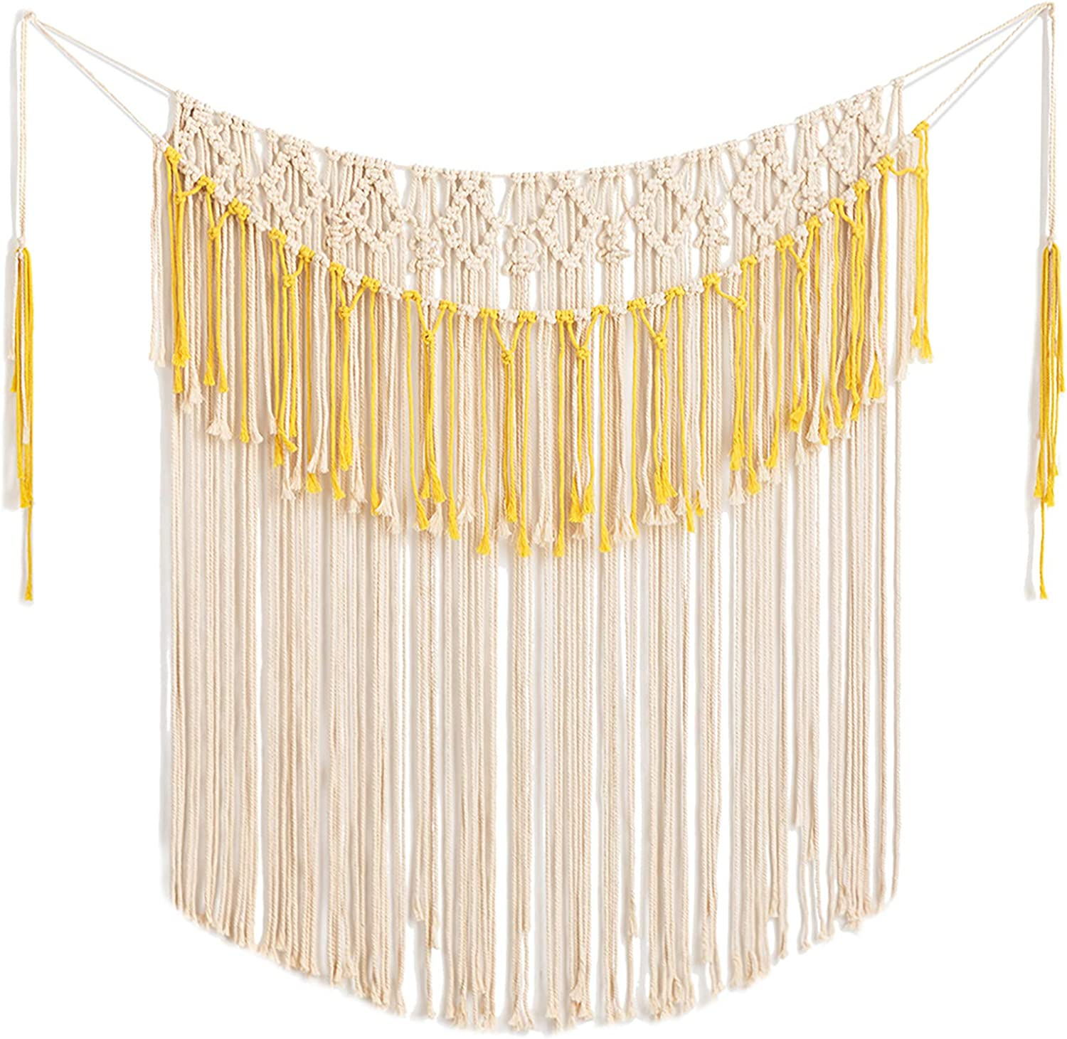 """ARTALL Wall Hanging Macrame Curtain Fringe Banner Bohemian Wall Decor Woven Tapestry Home Decoration for Wedding Apartment Yellow 43"""" w x 51"""" h"""