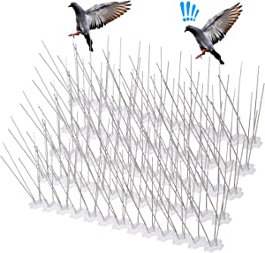 LEPO Stainless Steel Bird Spikes for Pigeons and Other Small Birds Metal Roof Guard Pigeon Prevention, Rodent Deterrent, Animal -10.76 Ft