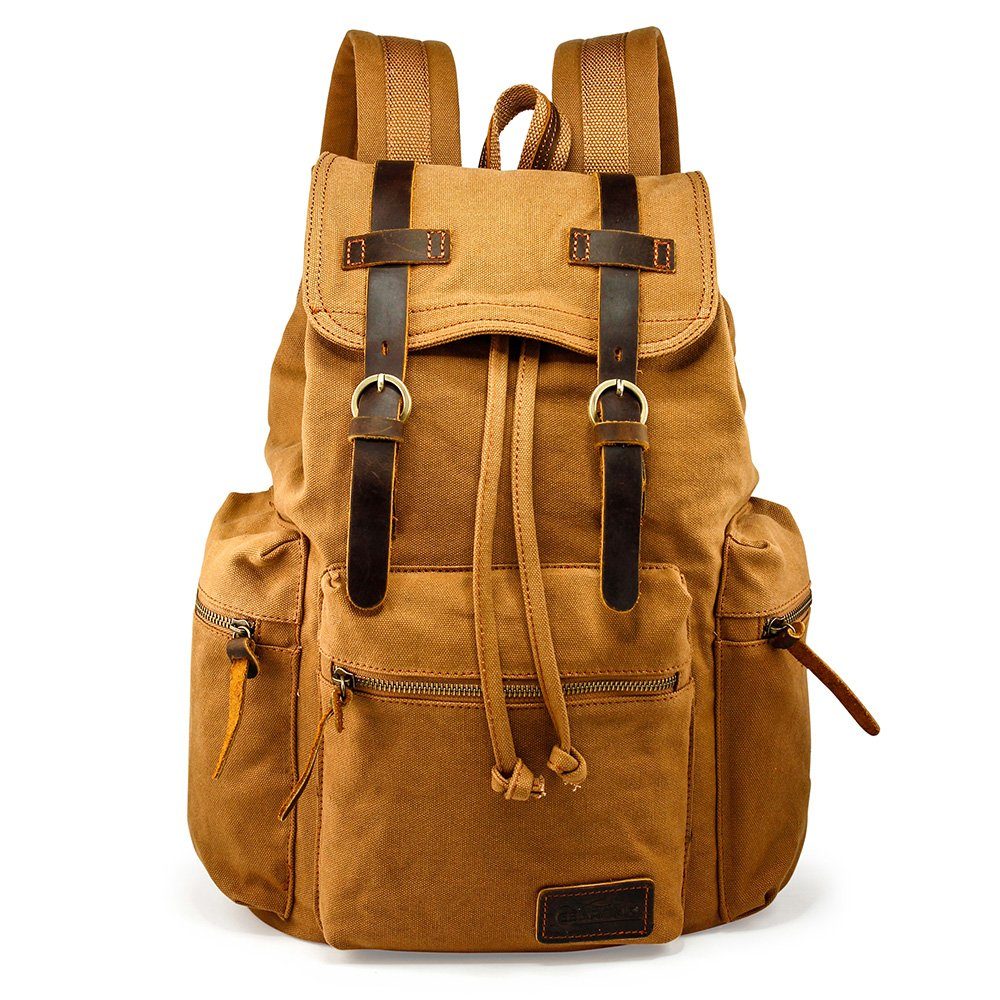 GEARONIC TM 21L Vintage Canvas Backpack for Men Leather Rucksack Knapsack 15 inch Laptop Tote Satchel School Military Army Shoulder Rucksack Hiking Bag Yellow