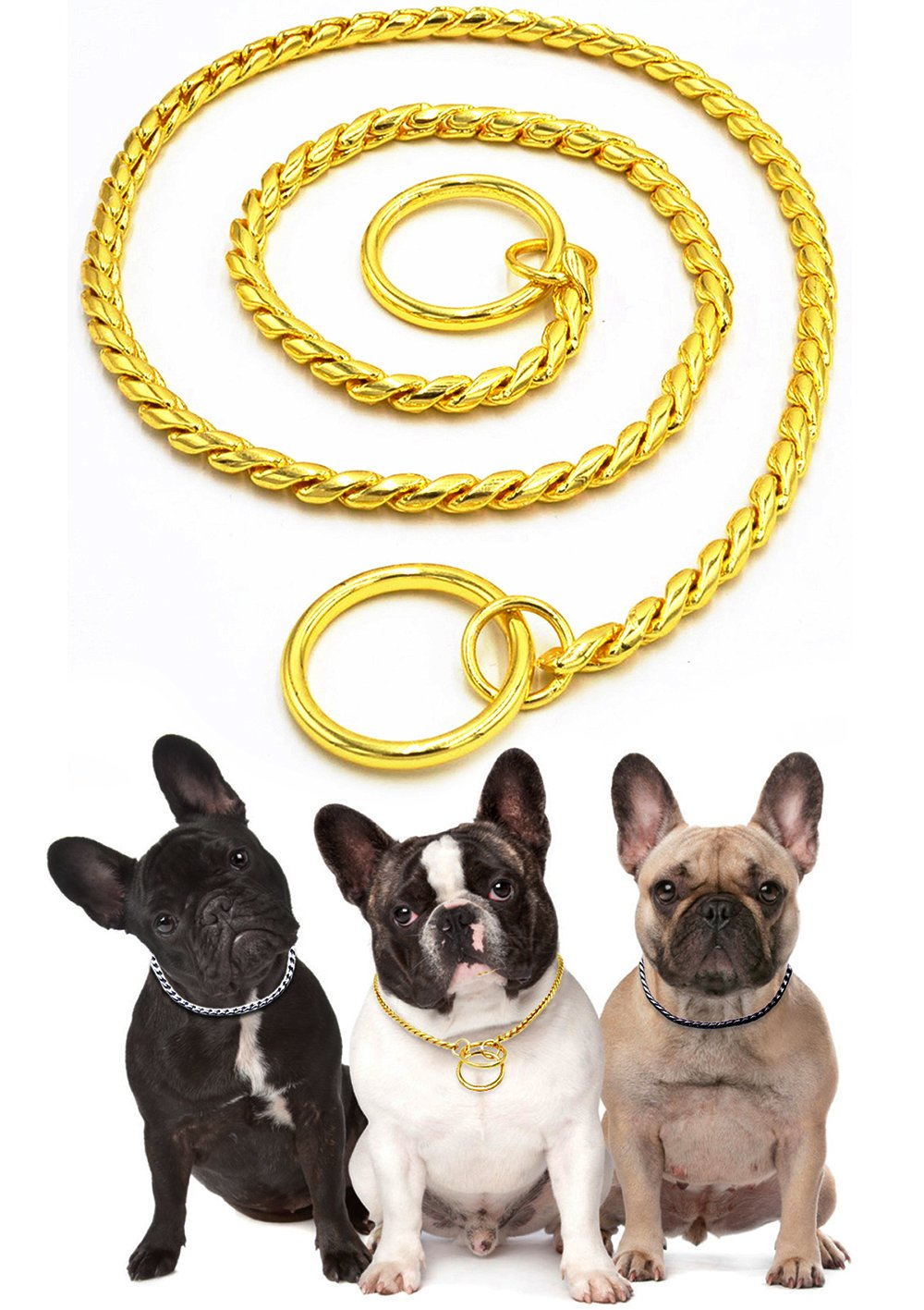 gold M Length  20\ gold M Length  20\ Freezx Dog Choke Collars Training Snake P Chain Adjustable Heavy Duty Pure Copper Choke P Snake Chain Collars Best for Small Medium Large Dogs