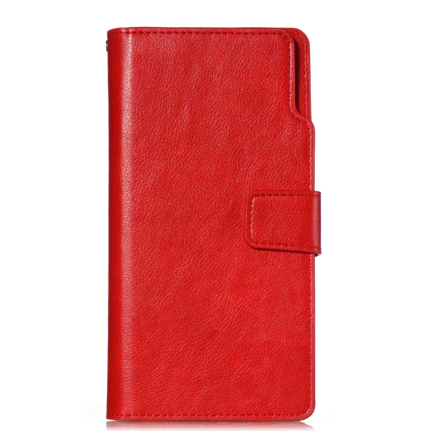 UNEXTATI Galaxy Note 8 Wallet Case, Leather Folding Flip Case with 9 Card Holder, Classic Design Protective Cover Bumper Case for Samsung Galaxy Note 8 (Red #4)