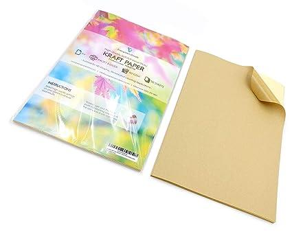 50 feuilles de papier kraft A4 Mat Autocollant/étiquettes autocollantes dadresses papier dimpression.
