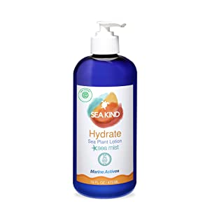 All Natural Hydrate Hand and Body Lotion for Women and Men, Lavender Essential Oil Scent 16 Fl Oz, Non Comedogenic, Vegan Moisturizer for Dry and Sensitive Skin, No Parabens, Sea Kind