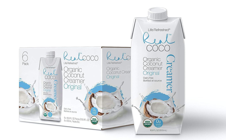 Real Coco Organic Coconut Coffee Creamer Original (6-Pack 500ml), Certified Organic, No-Added Sugar, Plant Based, Dairy & Soy Free, Vegan, Keto and Paleo Friendly