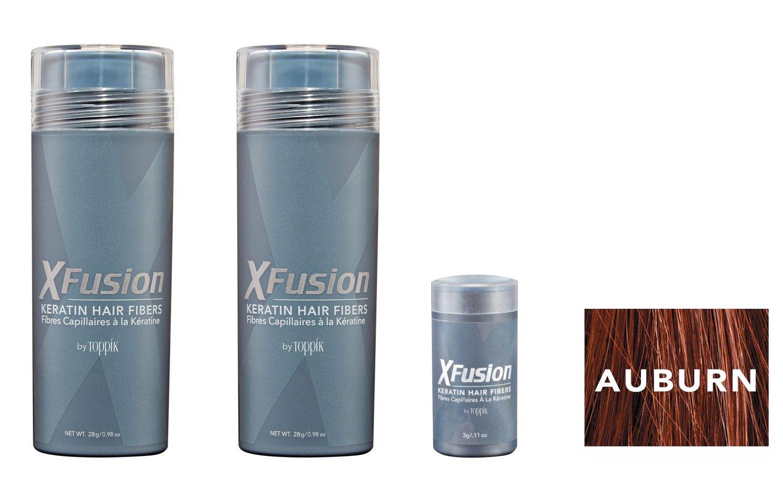 Xfusion Keratin Hair Fibers,Two Pack Value 2 x 28 gr/0.98 oz AUBURN/FREE Refillable 3 gr Travel Size Fibers ($8.00 Value) …