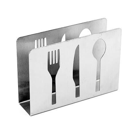 deco4fun hueco de acero inoxidable de pie servilletero con cubiertos tenedor cuchillo cuchara diseño – moderna
