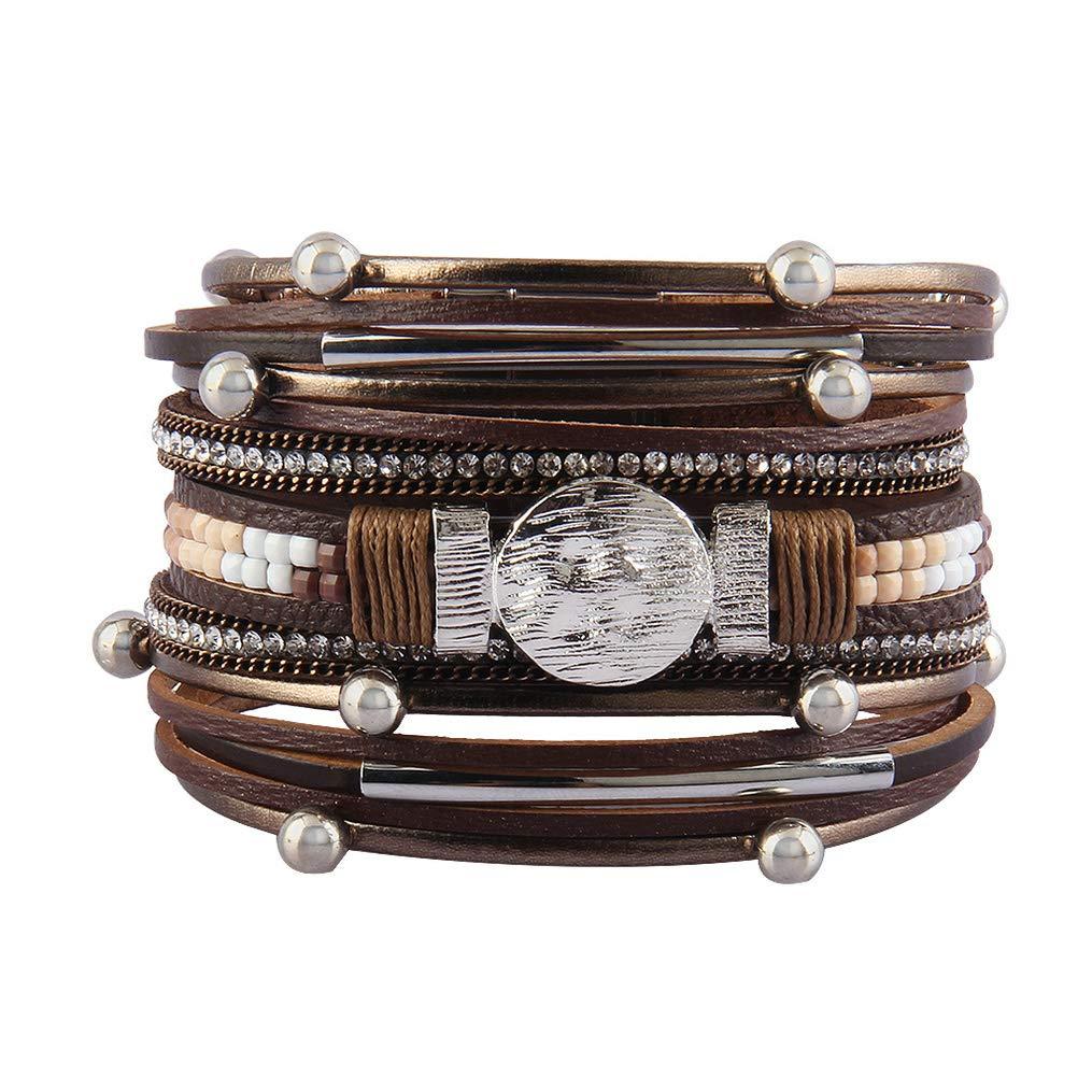 Jeilwiy Leather Wrap Bracelet Braided Cuff Bangle Tube Bracelet Charm Beads Boho Jewelry for Women, Lady, Wife, Teens Girl HGB002-Beige