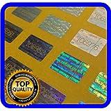 100 Stück Hologramm Siegel, 17x30mm silber, Garantiesiegel