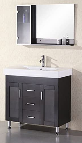 Design Element Miami Single Porcelain Integrated Drop-In Countertop and Sink Vanity Set, 36-Inch