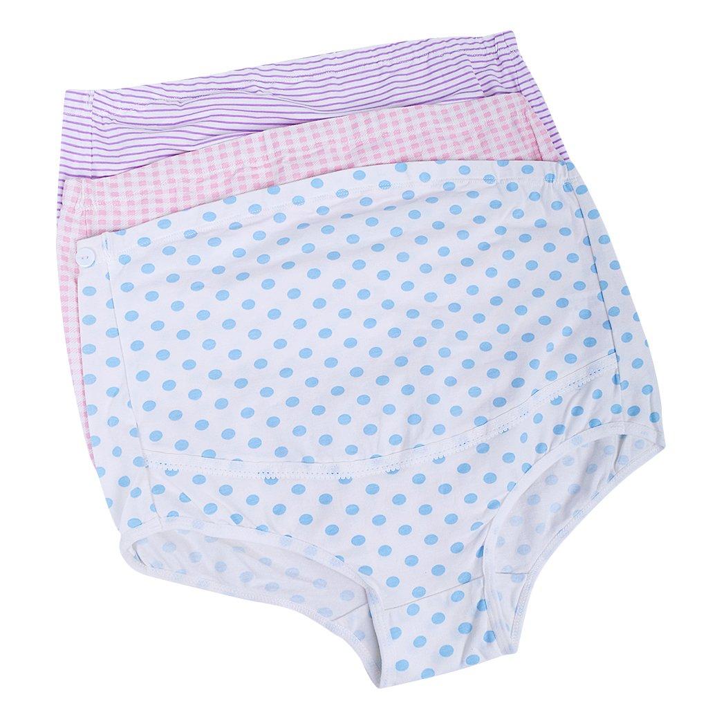 3pcs Femmes Culottes de Grossesse Réglable Caleçons Maternité Sous-vêtements Support Briefs Enceintes Phenovo