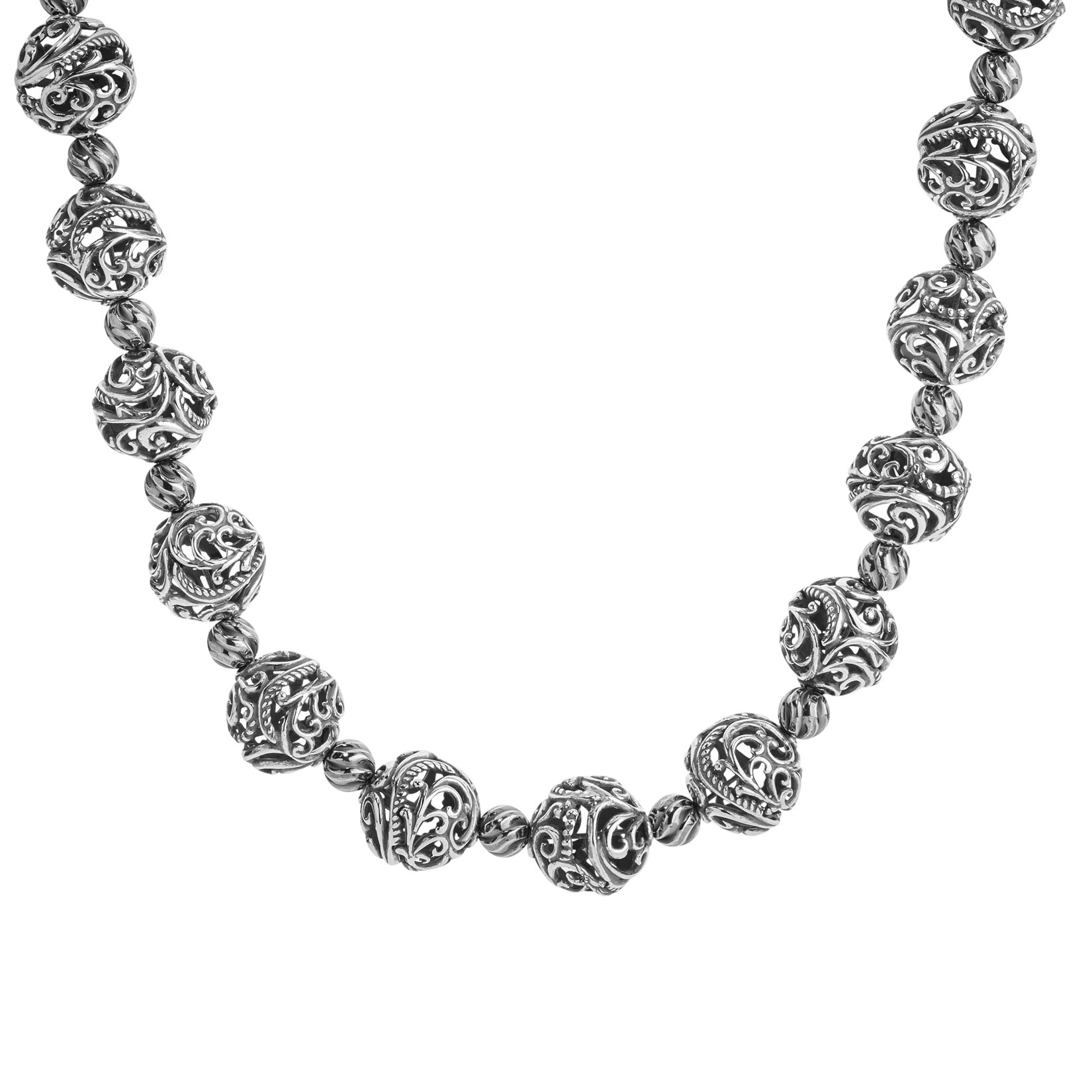 Carolyn Pollack Sterling Silver Signature Filigree Bead 17 Inch Necklace