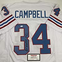 Autographed/Signed Earl Campbell HOF 91 Houston White Football Jersey Tristar COA photo