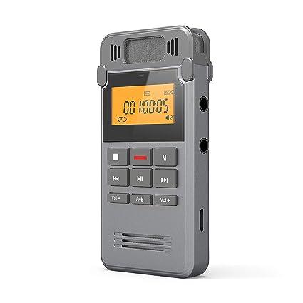 COOAU Grabadora de Voz Digital Portátil, 16GB Recargable Carcasa Metálica con Grabación de Micrófono Doble