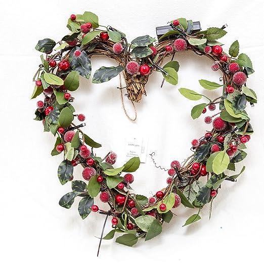 Gisela Graham : corona de Navidad : bayas rojas y ramas : corona de flores en forma de corazón