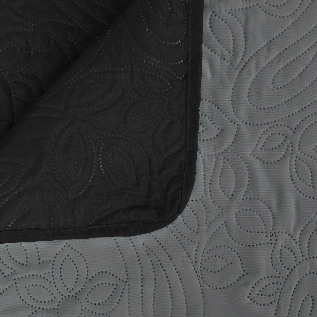 Tidyard Couvre-lit Matelass/é /à Double Face Lavable en Machine 220x 240 cm Noir et Blanc
