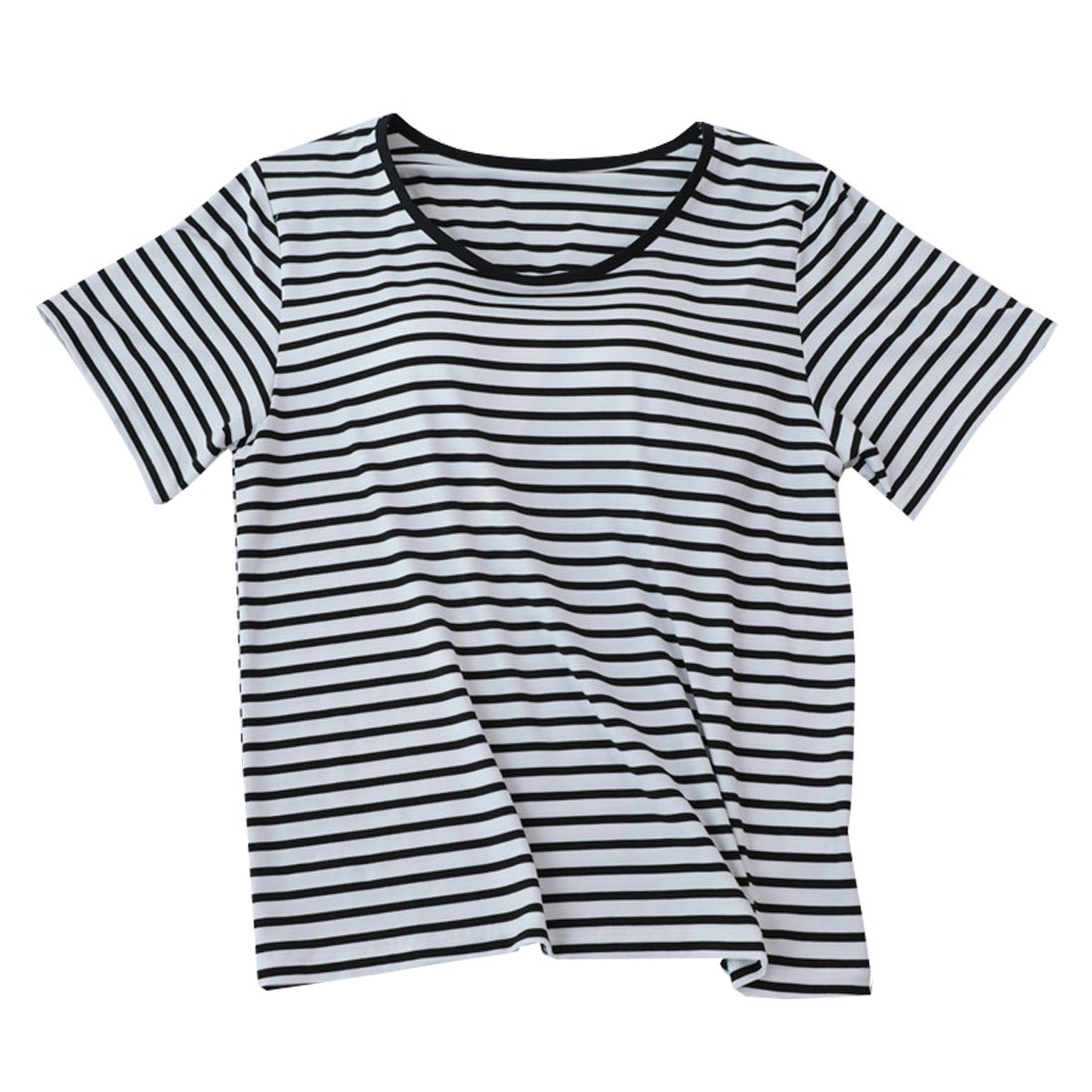 b36ed1f808 ChuJiao Women s Built-in Bra Loose Version of The Striped Short-Sleeved T- Shirt Home Service Tops at Amazon Women s Clothing store