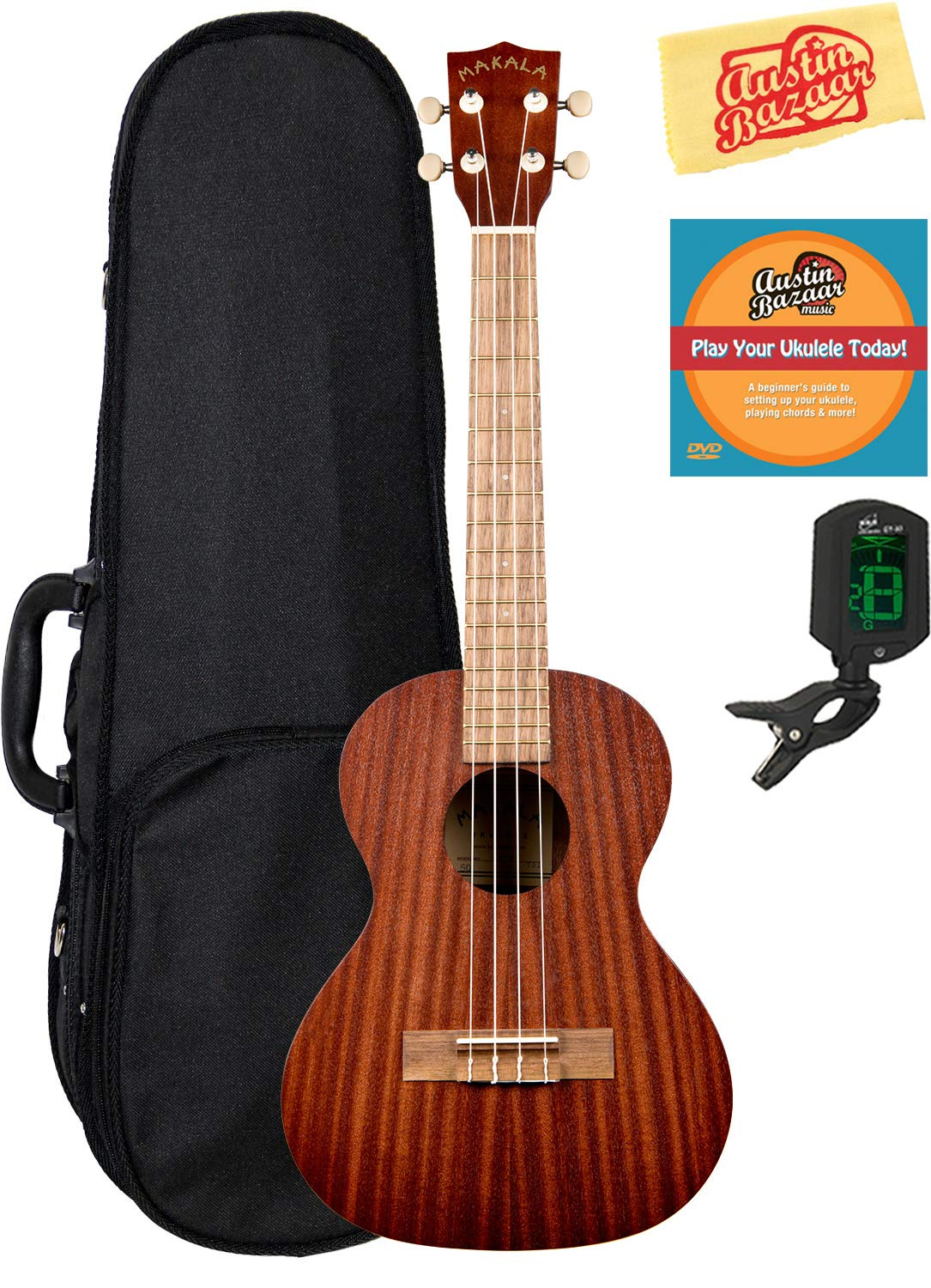Kala MK-T Makala Tenor Ukulele Bundle with Hard Case, Tuner, and Polishing Cloth - White Accents MK-T-COMBO-DLX