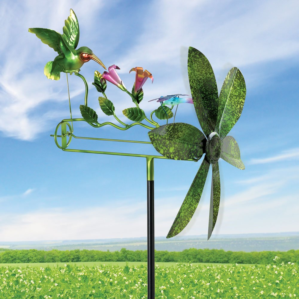 Bits and Pieces - 15'' Hummingbird and Dragonfly Whirligig - Durable Wind Spinner - Outdoor Lawn and Garden Décor