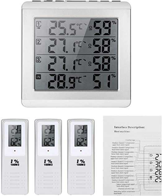Digital Wireless Weather Station Thermometer 2 Sensor Temperature Humidity Meter
