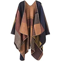 KirGiabo Women Plaid Wrap,Winter Poncho Cape,Oversized Long Cardigan Sweaters,Accessories for Women