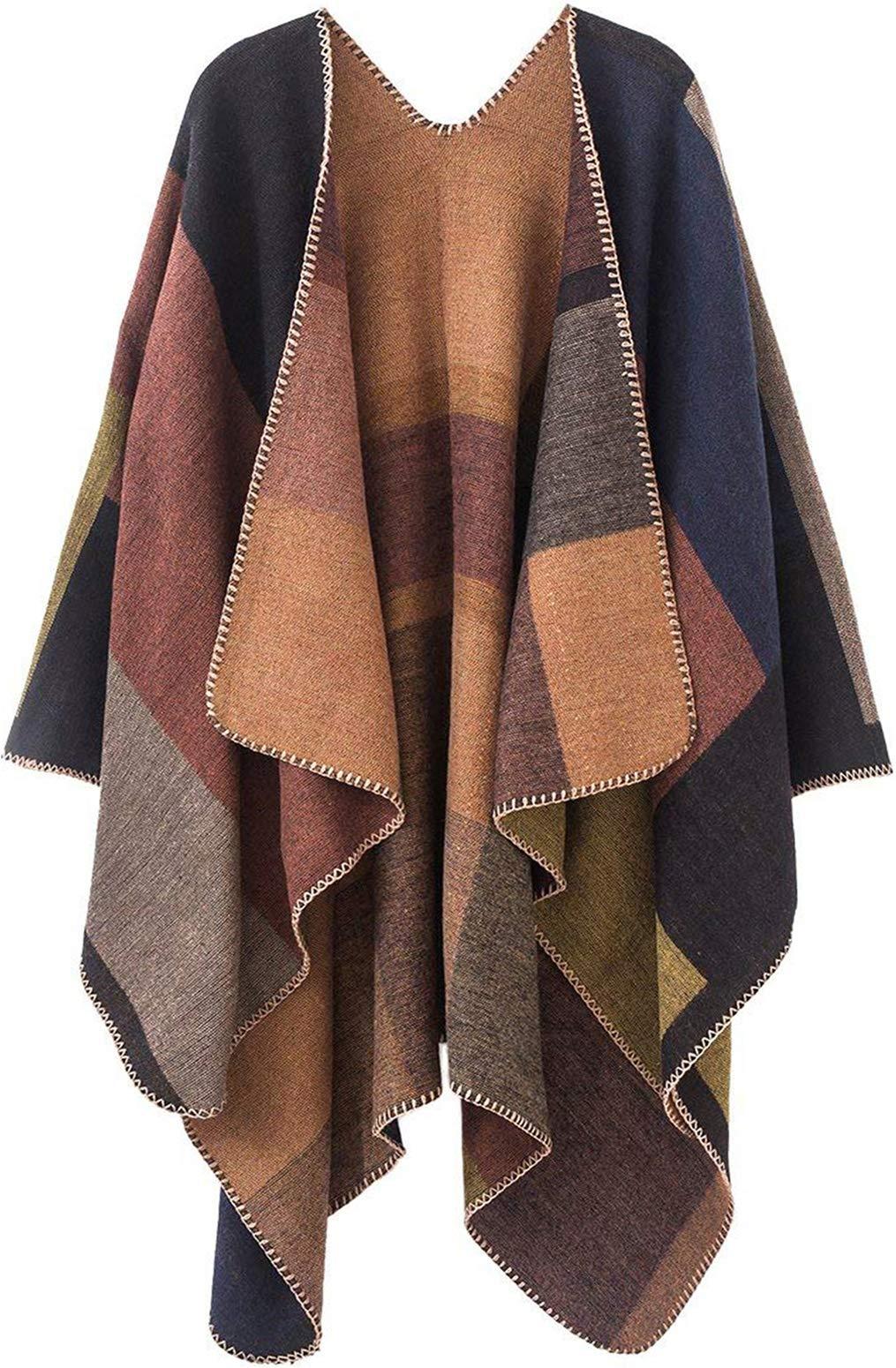 Women Plaid Shawls and Wraps,Winter Poncho Cape,Soft Cashmere Cloak,Oversized Long Cardigan Sweaters(Khaki) by KirGiabo