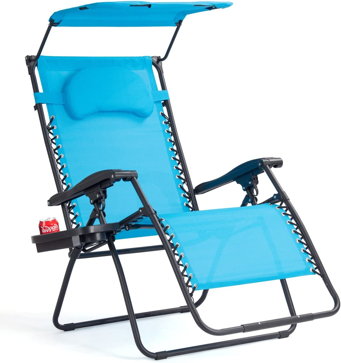 Goplus Folding Zero Gravity Lounge Chair Wide Recliner for Outdoor Beach Patio Pool w Shade Canopy Blue Zero Gravity Chair