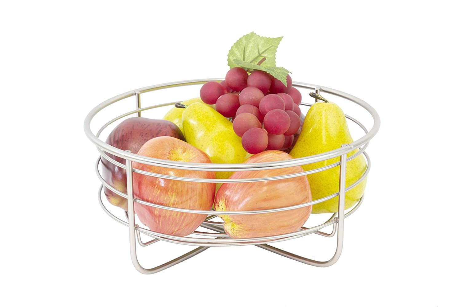 2 TIER, Inspired Living by Mesa Inspired Living Bowl Kitchen BASKETSTAND Powder Coated Black Polyhedron Collection FRUIT BASKET