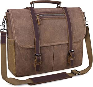 Mens Messenger Bag 15.6 Inch Waterproof Vintage Waxed Canvas Satchel Briefcase Shoulder Bag Retro Distressed Business Computer Laptop Leather Messenger Bag Brown