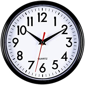 """Bernhard Products - Black Wall Clock 8"""" Silent Non-Ticking Quality Quartz Battery Operated Round Clock for Office/Kitchen/Classroom/Nursery Room Easy to Read (Black)"""
