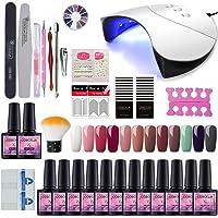COSCELIA Gel Nail Starter Kit 12 Colors Gels 36W Nail Lamp Dryer UV Soak Off Topcoat Basecoat Nail Art Tool Nail Salon Set Manicure(12E)